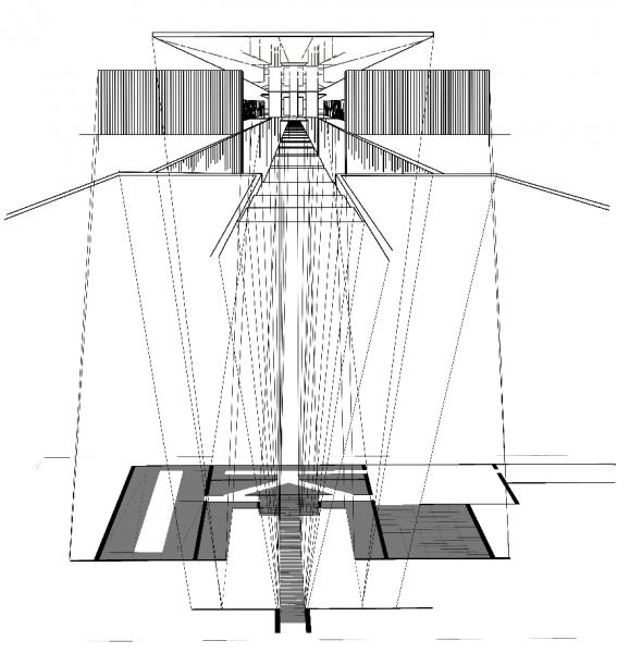 This image was part of a drawing exercise, in which I took a selection of the case study houses and enforced a specific phobia to the houses design and layout. In this example with Case Study House 15, I wanted to apply techniques that would enforce the fear of heights (acrophobia). The addition of mirrors on both the floor and the placement of a mirror on top create the illusion of depth along the path to the main entrance.