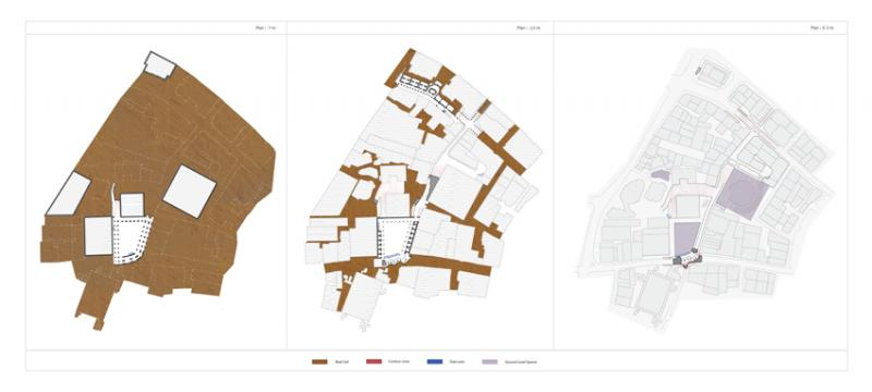 Plans through different heights, exposing the depths and the neighbouring relations as well as the contoured landscaped streets.