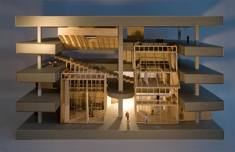 Photograph of model representing a potential structure that could be designed and constructed by JP Morgan's resident artists. In this case, it stems from the atrium on floors 7-10 of the bank.