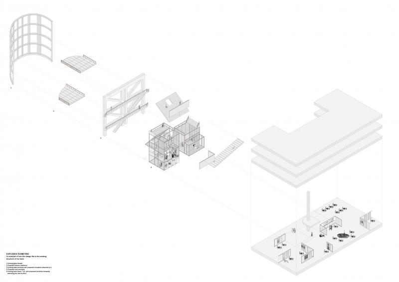Exploded isometric explaining how this design would connect and fit to the existing structure and constraint of the building.